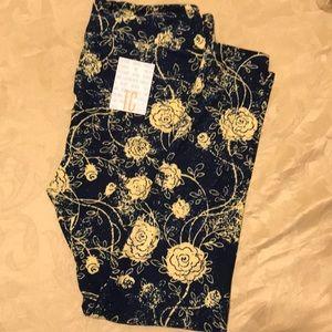 Lularoe leggings blue yellow flower leggings TC